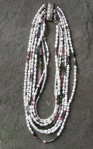 7 Strand Freshwater Pearl & Watermelon Tourmaline - Of Coins & Crystals