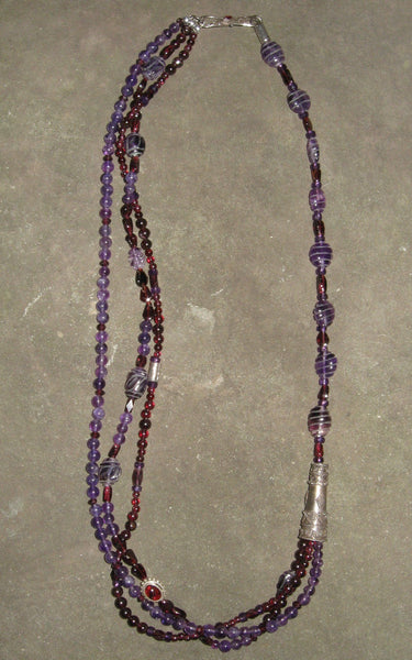 Amethyst & Garnet Multi Strand Necklace - Of Coins & Crystals