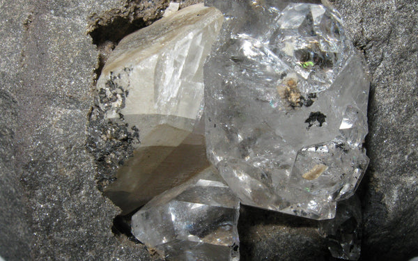 Herkimer Diamond in Matrix w/ Calcite - Of Coins & Crystals