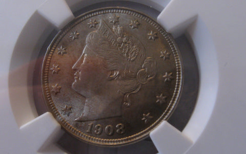1908 V Nickel.  NGC MS-64 - Of Coins & Crystals