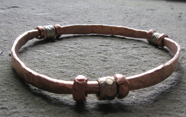 Hand Forged Copper & Silver Bangle Bracelet - Of Coins & Crystals