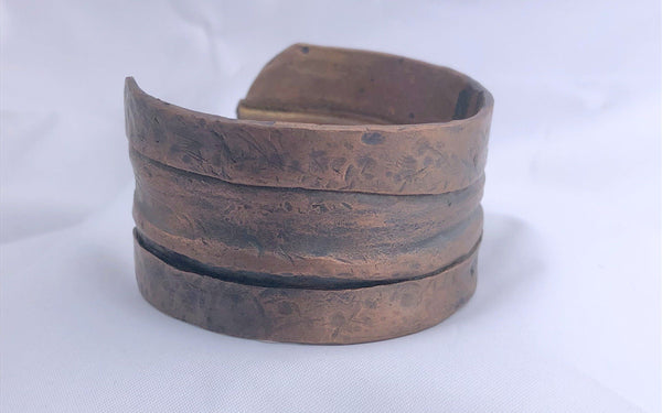 "Fold Formed  Copper Bracelet 1.25"" wide"