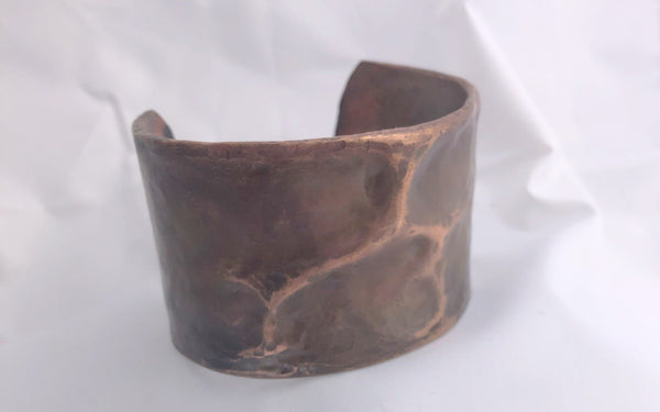 Hand Forged Air Chased Thick Copper Bracelet