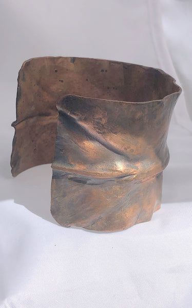 "Fold Formed Ruffled Copper Bracelet 2"" wide"