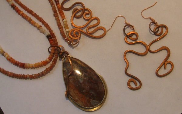 Mexican Laguna Lace Agate Necklace with Copper Earrings - Of Coins & Crystals