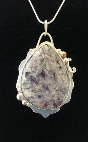 Peace Within - Lepidolite w/ Pink Tourmaline in Sterling/Fine Silver