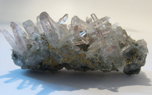 Quartz Cluster with Hematite - Of Coins & Crystals
