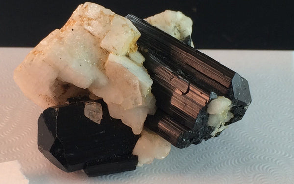 Black Tourmaline in Feldspar 7 - Skardu Valley, Pakistan - Of Coins & Crystals