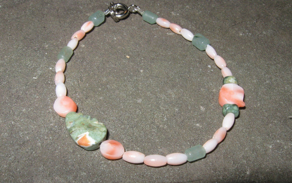 Aventurine, Rhyolite & Coral Necklace - Of Coins & Crystals