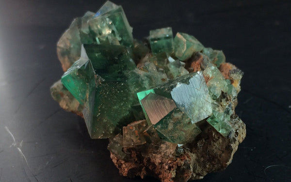 Dark Green Blue tipped Fluorite - Of Coins & Crystals