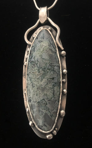 Silent Night - Moss agate in Sterling Silver