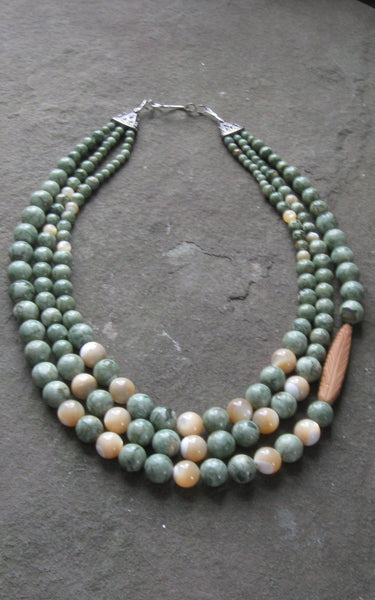 Rhyolite & Mother of Pearl 3 strand - Of Coins & Crystals