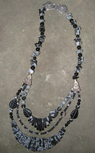 Snowflake Obsidian with Black Onyx - Of Coins & Crystals - 1
