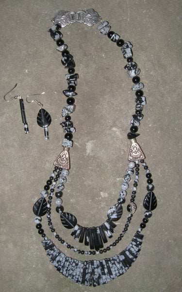 Snowflake Obsidian with Black Onyx - Of Coins & Crystals - 2