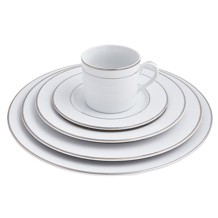 Double Platinum Rim 5-Piece Place Setting
