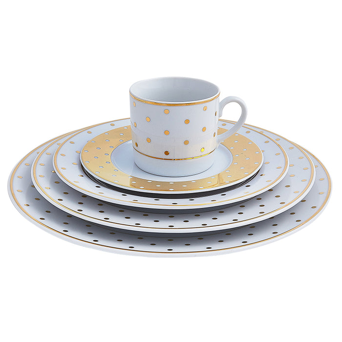 Gold Polka Dot 5-Piece Place Setting