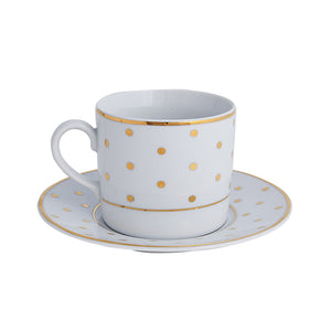 Gold Polka Dot Cup & Saucer | Dinnerware Collection