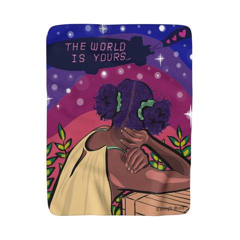 Sherpa Fleece Blanket - The World is Yours