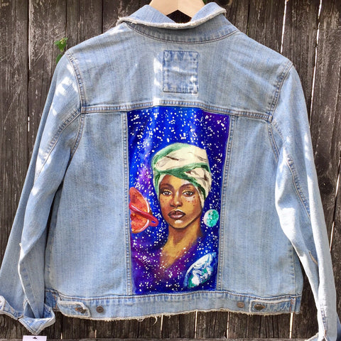 One of Kind painted jacket - Erykah Badu Size: Large
