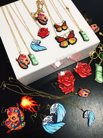 Necklace - Fire, Water, Palette, Rose, Bill, Butterfly