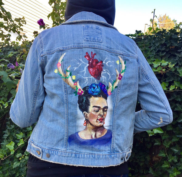 One of Kind painted jacket - Frida Size: Medium