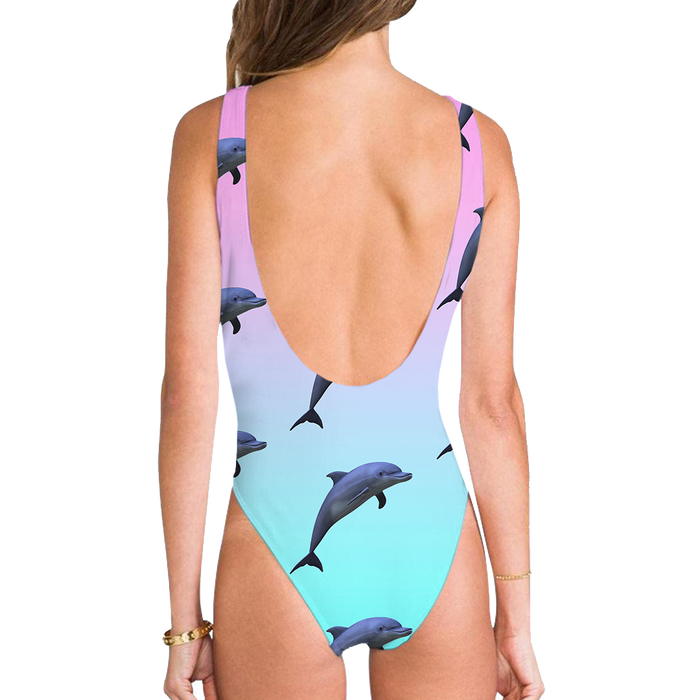 High Legged One Piece Swimsuit - Dolphinz High Legged One Piece Swimsuit