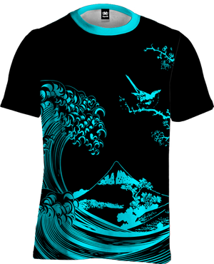 Fluorescent Wave Tee All Over Print Tee T6 XS Cyan