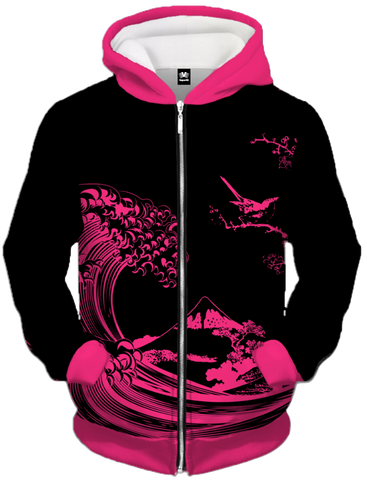 Fluorescent Wave Zip Up Hoodie All Over Print Zip Up Hoodie T6 XS Fuchsia