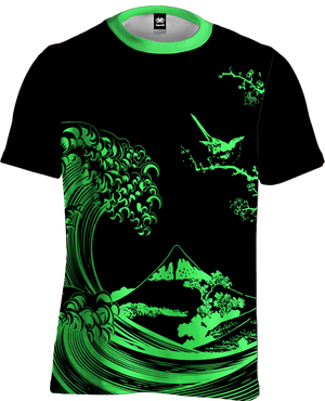 Fluorescent Wave Tee All Over Print Tee T6 XS Green