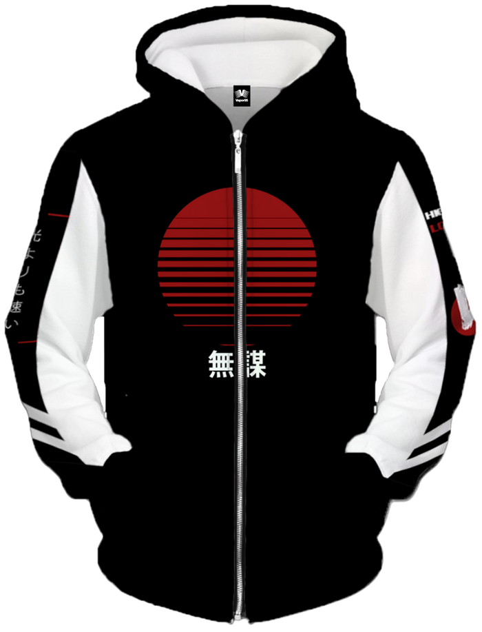 All Over Print Zip Up Hoodie - Bosozoku Zip Up Hoodie
