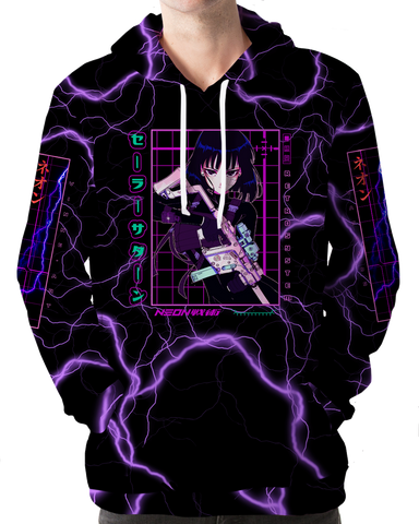 Sailor Saturn Hoodie All Over Print Hoodie T6 XS Purple Black