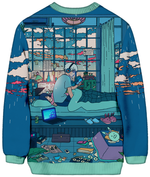 All Over Print Sweatshirt - Sleepy Days Sweatshirt