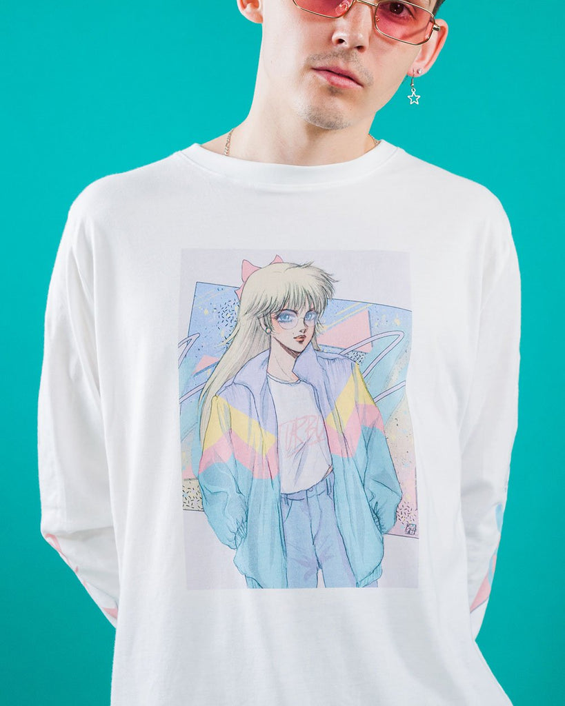 Turbo Babe Long Sleeve Tee by Vapor95. VaporWave. VaporFashion