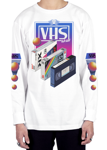 VHS World Long Sleeve Tee Long Sleeve Graphic Tee Vapor95