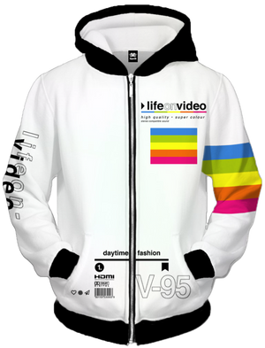 Life On Video Zip Up Hoodie All Over Print Zip Up Hoodie T6