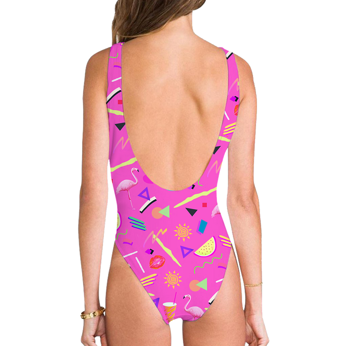High Legged One Piece Swimsuit - Pool Party High Legged One Piece Swimsuit