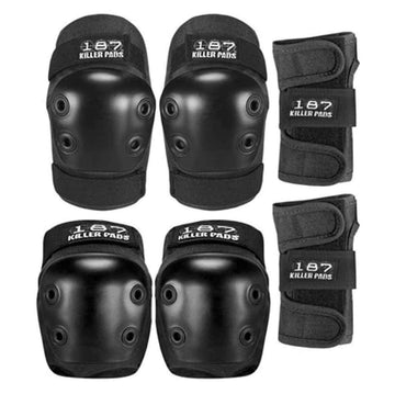 187 PAD SET BLACK - JUNIOR (KNEES,ELBOWS & WRISTS) - The Drive Skateshop