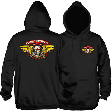 POWELL PERALTA SWEATER - WINGED RIPPER MID-WEIGHT HOOD BLACK - The Drive Skateshop