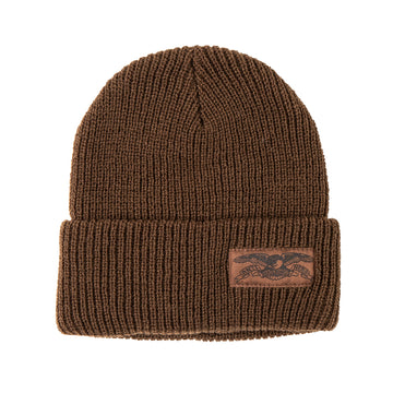 ANTIHERO STOCK EAGLE LABEL CUFF BEANIE BROWN - The Drive
