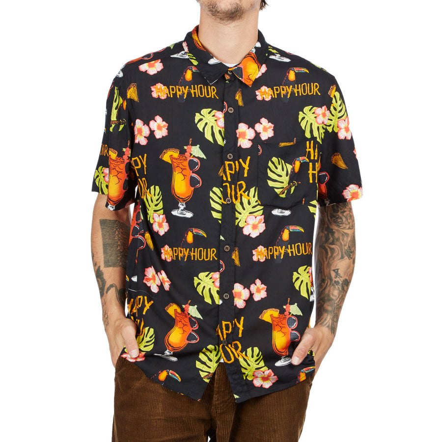 HAPPY HOUR S/S BUTTON UP SHIRT BLACK - TIKI ROOM - Seo Optimizer Test