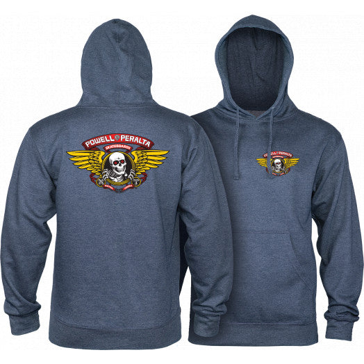 POWELL-PERALTA PULLOVER HOODY - WINGED RIPPER MID-WEIGHT HEATHER NAVY - The Drive Skateshop