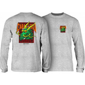 POWELL-PERALTA LONGSLEEVE T-SHIRT CAB STREET DRAGON HEATHER GREY - The Drive Skateshop