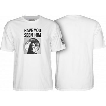 POWELL-PERALTA HAVE YOU SEEN HIM ANIMAL CHIN T-SHIRT WHITE - The Drive Skateshop