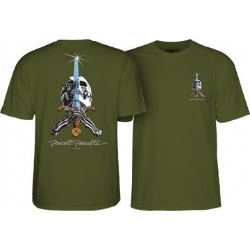 POWELL-PERALTA SKULL AND SWORD T-SHIRT MILTARY GREEN - The Drive Skateshop