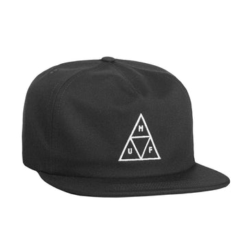 HUF ESSENTIALS TRIPPLE TRIANGLE UNSTRUCTURED SNAPBACK BLACK - The Drive Skateshop