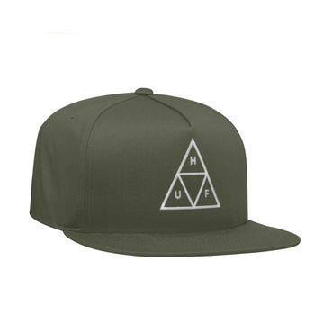 HUF ESSENTIALS TRIPPLE TRIANGLE SNAPBACK OLIVE - The Drive Skateshop