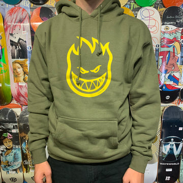 SPITFIRE BIGHEAD PULLOVER HOODED SWEATSHIRT ARMY W/ YELLOW PRINT - Seo Optimizer Test