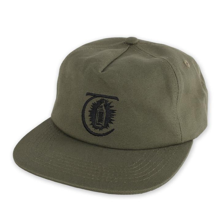 THEORIES LANTERN CANVAS STRAPBACK HAT MILITARY GREEN - The Drive Skateshop