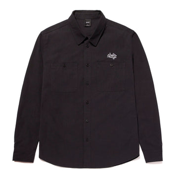 HUF MECHANICAL LONGSLEEVE BUTTON UP SHIRT BLACK