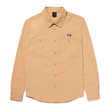 HUF MECHANICAL LONGSLEEVE BUTTON UP SHIRT KHAKI